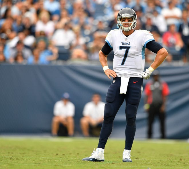 Blaine Gabbert -- 2 games started as a Titans quarterback since 1981  Here, Gabbert (7) stands on the field during a timeout in the second half against the Texans at Nissan Stadium Sunday, Sept. 16, 2018, in Nashville, Tenn.