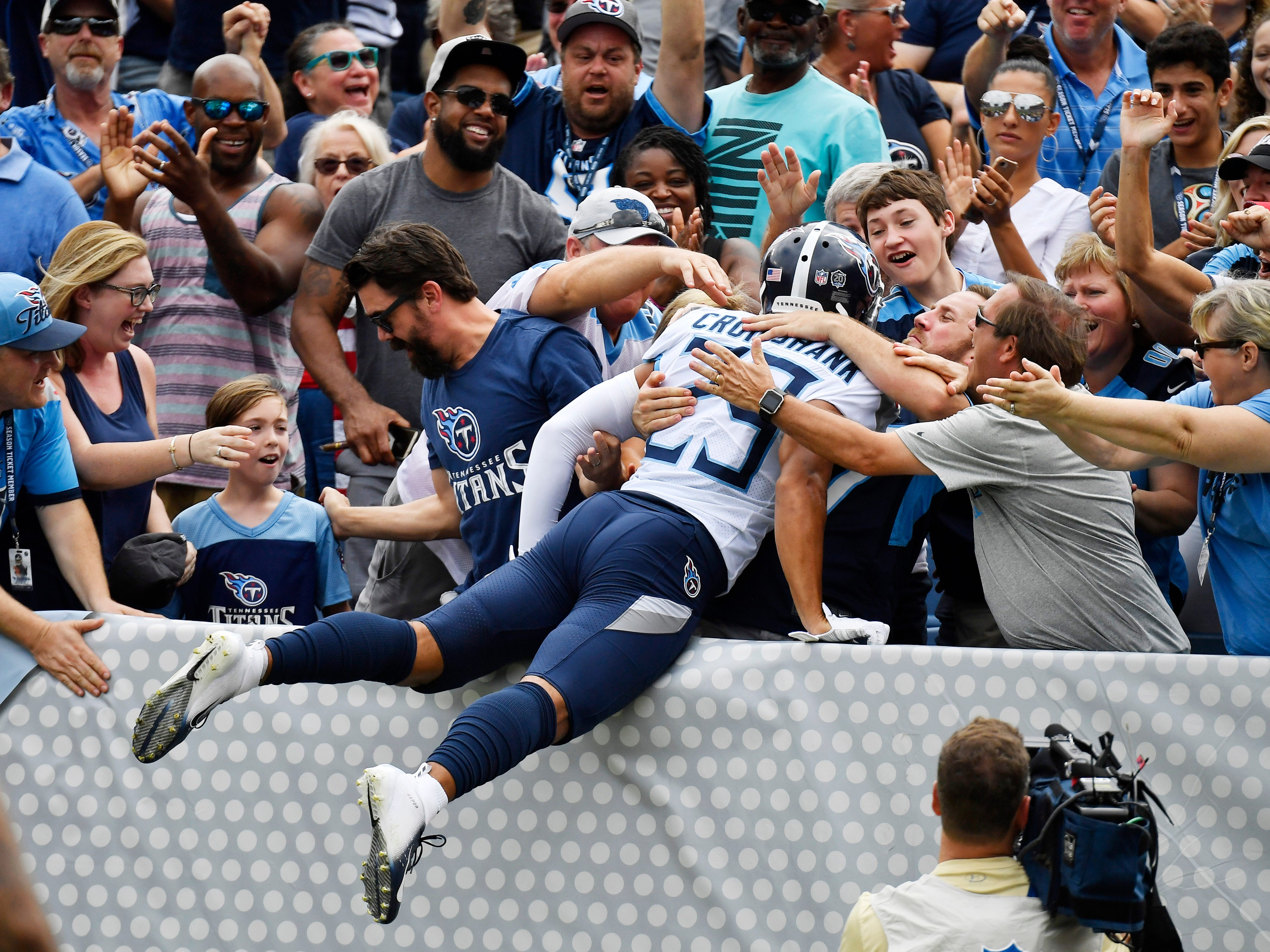 Best play: Kevin Byard's 66-yard TD pass to Dane Cruikshank -- Titans cornerback Dane Cruikshank (29) jumps into the fans after his touchdown in the first quarter at Nissan Stadium Sunday, Sept. 16, 2018, in Nashville, Tenn.
