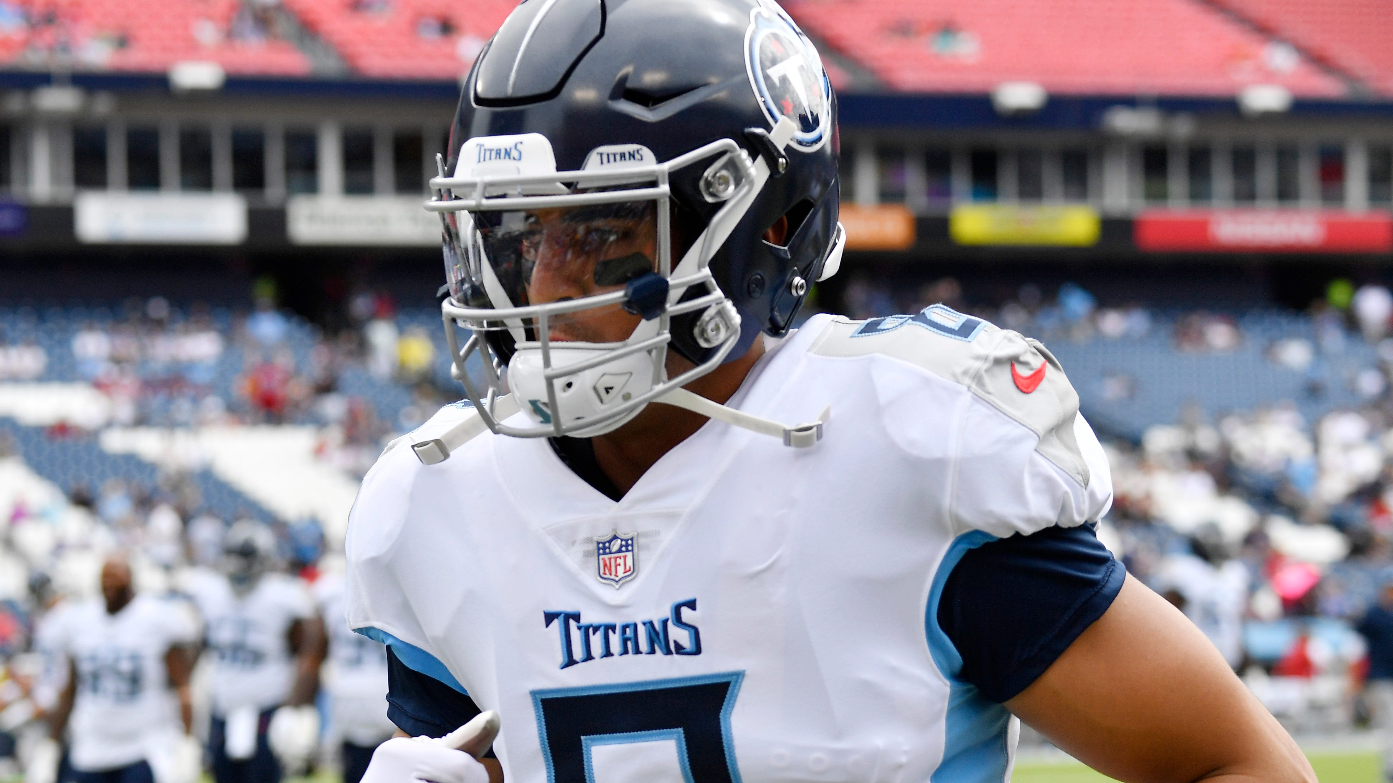 Titans quarterback Marcus Mariota (8) jogs on the field before the game at Nissan Stadium Sunday, Sept. 16, 2018, in Nashville, Tenn.