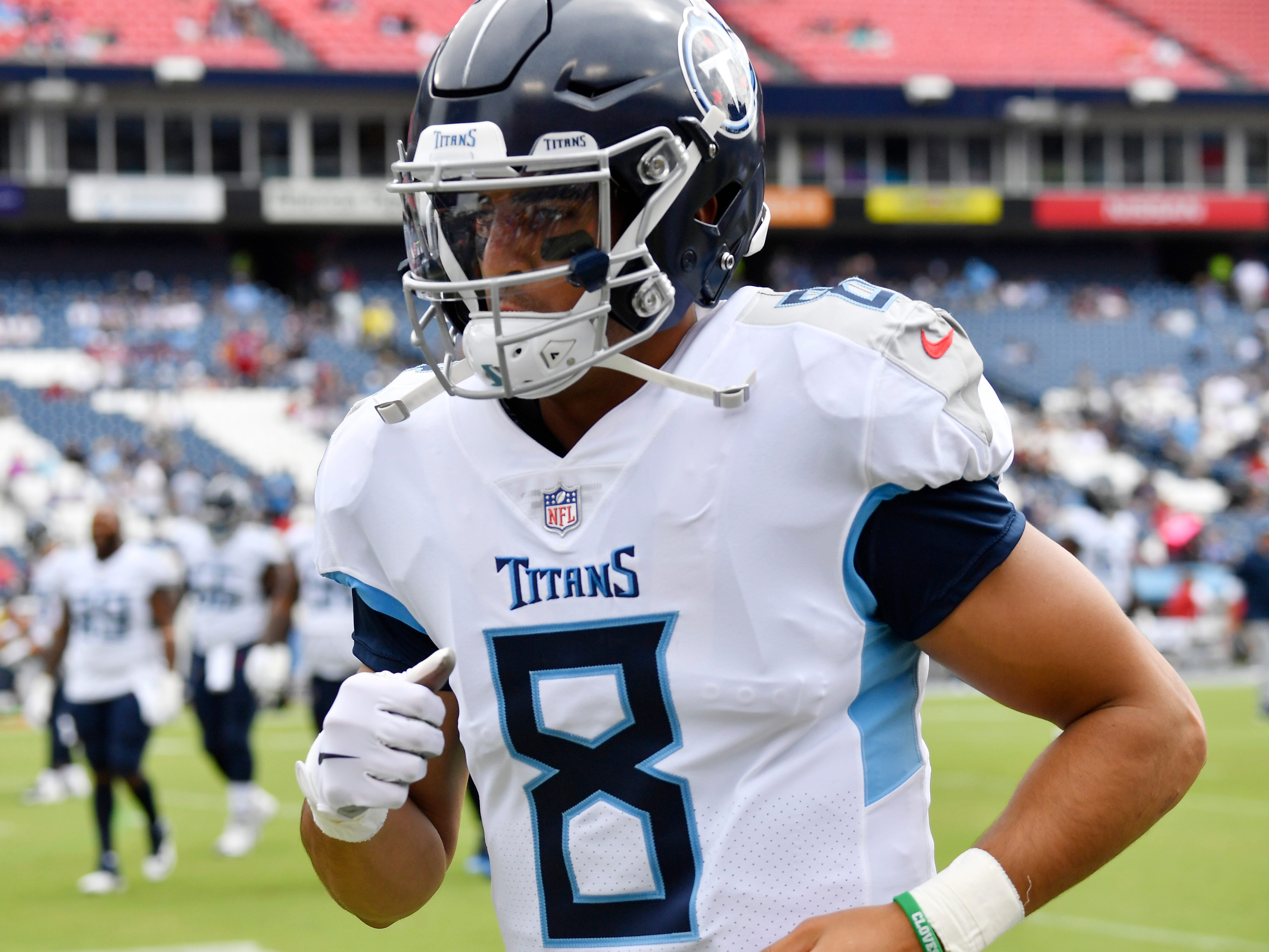 Titans quarterback Marcus Mariota (8) jogs on the field before the game at Nissan Stadium Sunday, Sept. 16, 2018, in Nashville, Tenn.