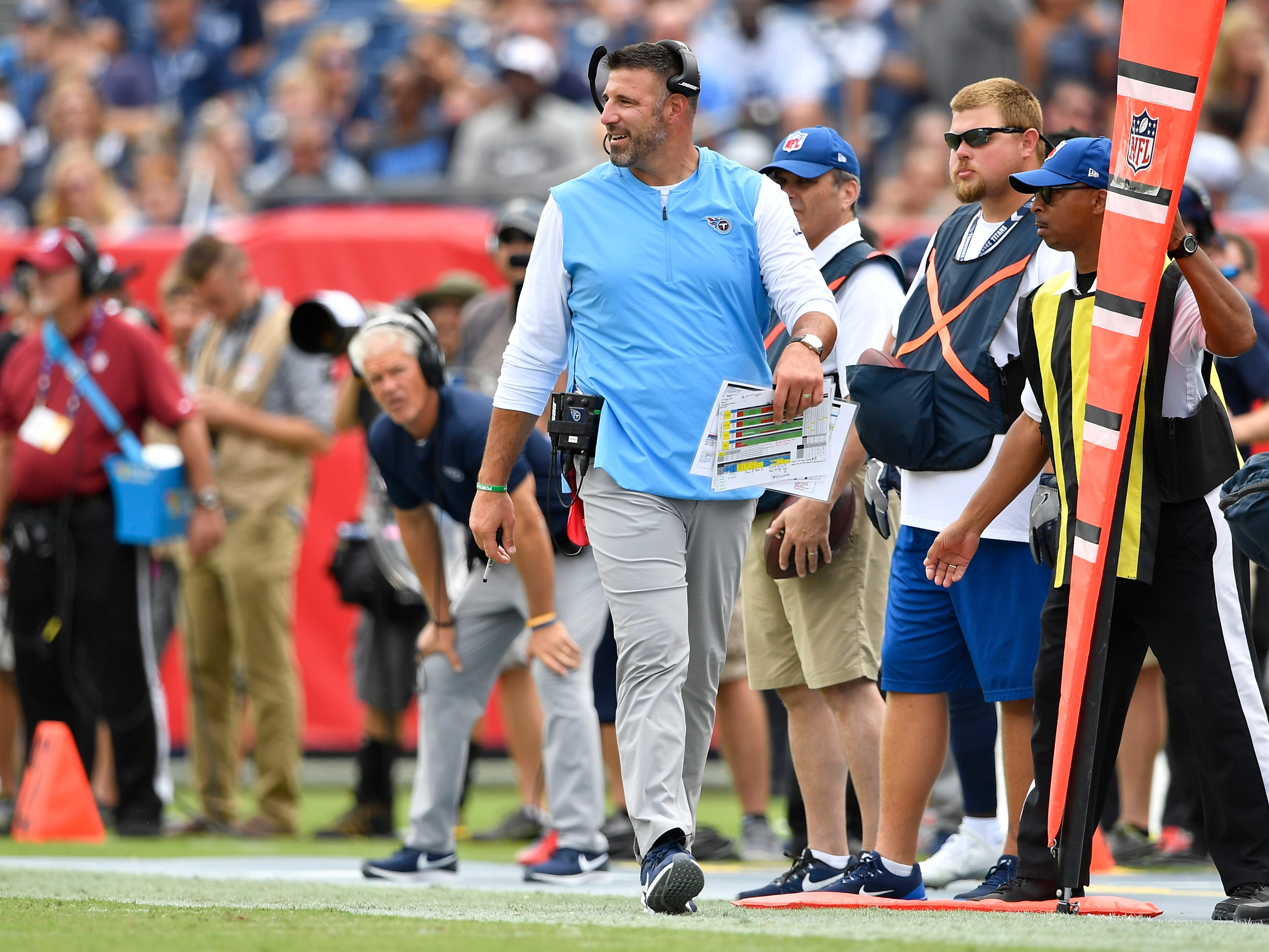 Titans head coach Mike Vrabel walks the sidelines in the second quarter at Nissan Stadium Sunday, Sept. 16, 2018, in Nashville, Tenn.