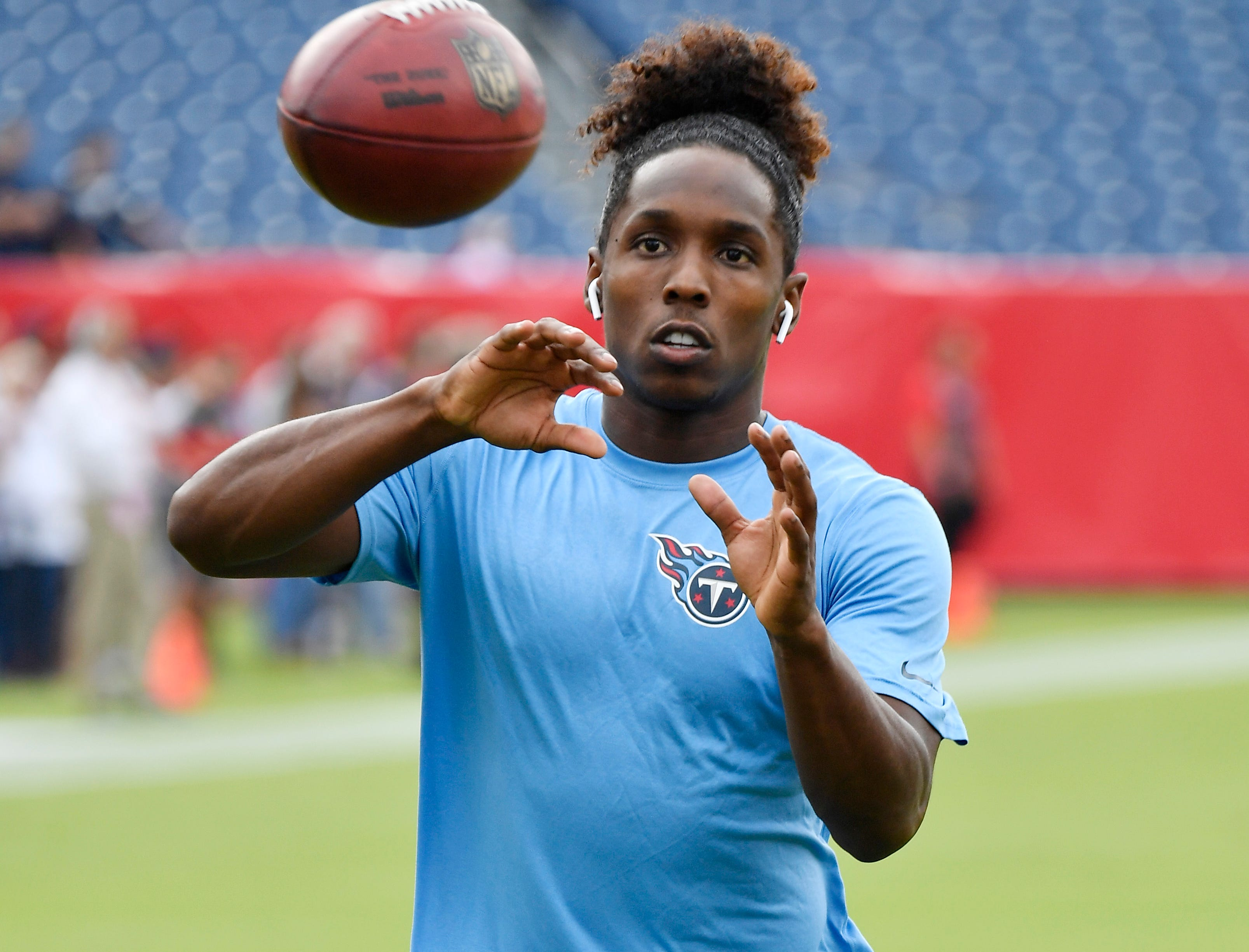 Titans cornerback Adoree' Jackson (25) pulls in a catch before the game against the Texans at Nissan Stadium Sunday, Sept. 16, 2018, in Nashville, Tenn.