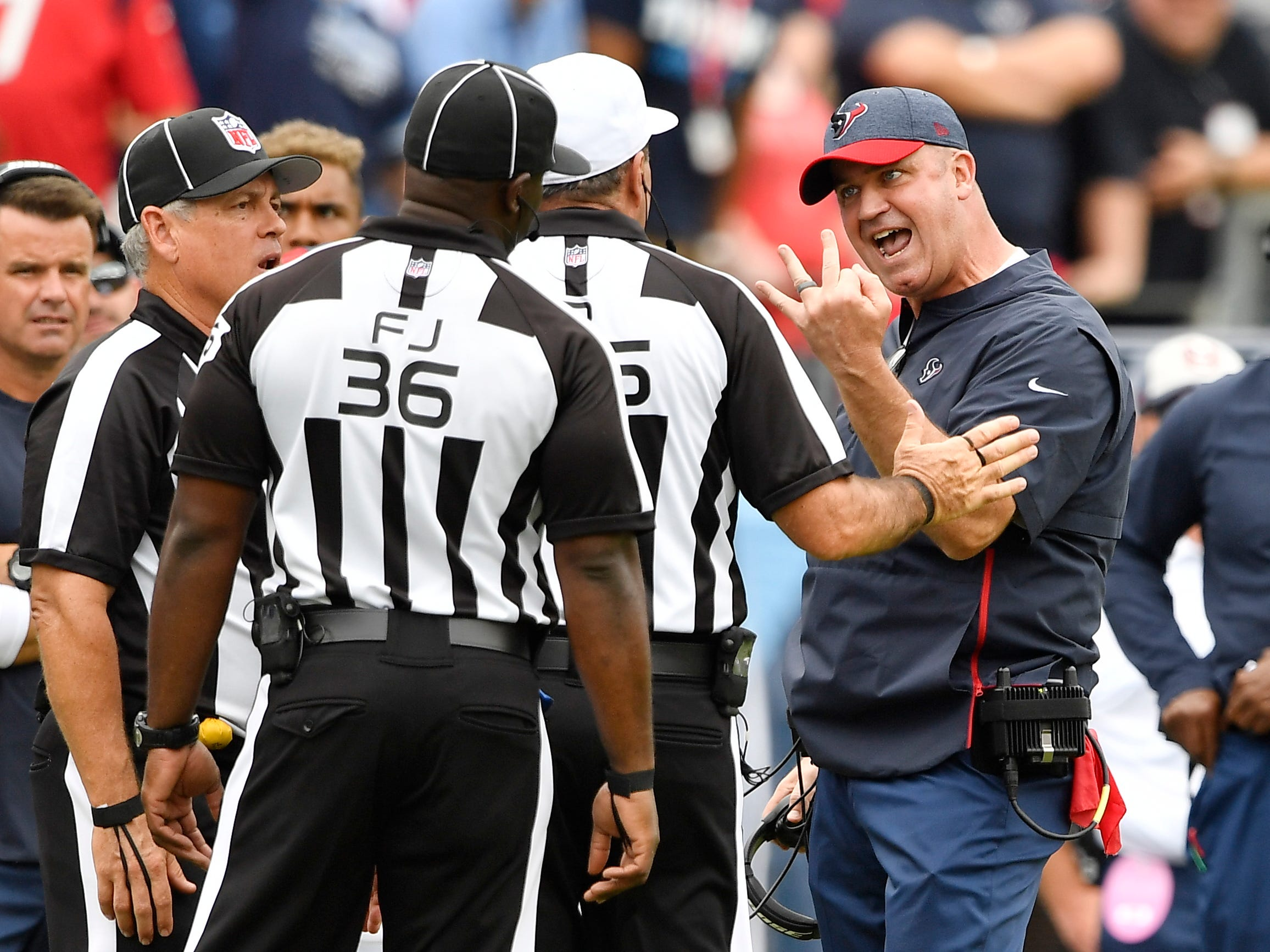 Texans head coach Bill O'Brien argues the call late in the second half at Nissan Stadium Sunday, Sept. 16, 2018, in Nashville, Tenn.