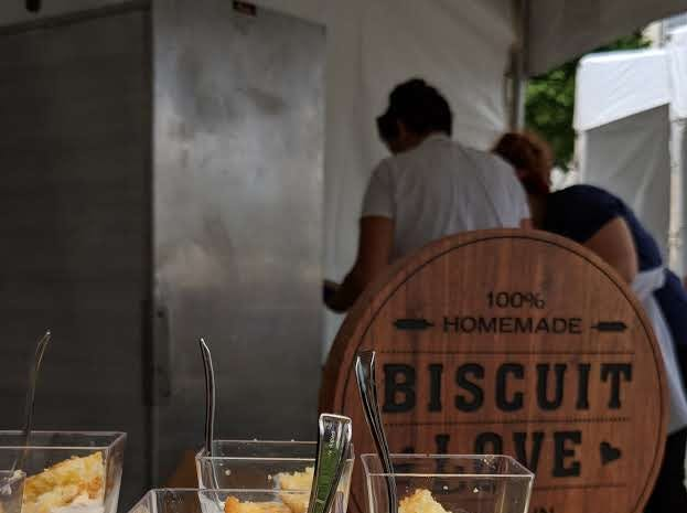 Biscuit Love prepared cornbread biscuits with buttermilk and peach jam at the Music City Food + Wine Festival's Gospel Brunch on Sept. 16, 2018.