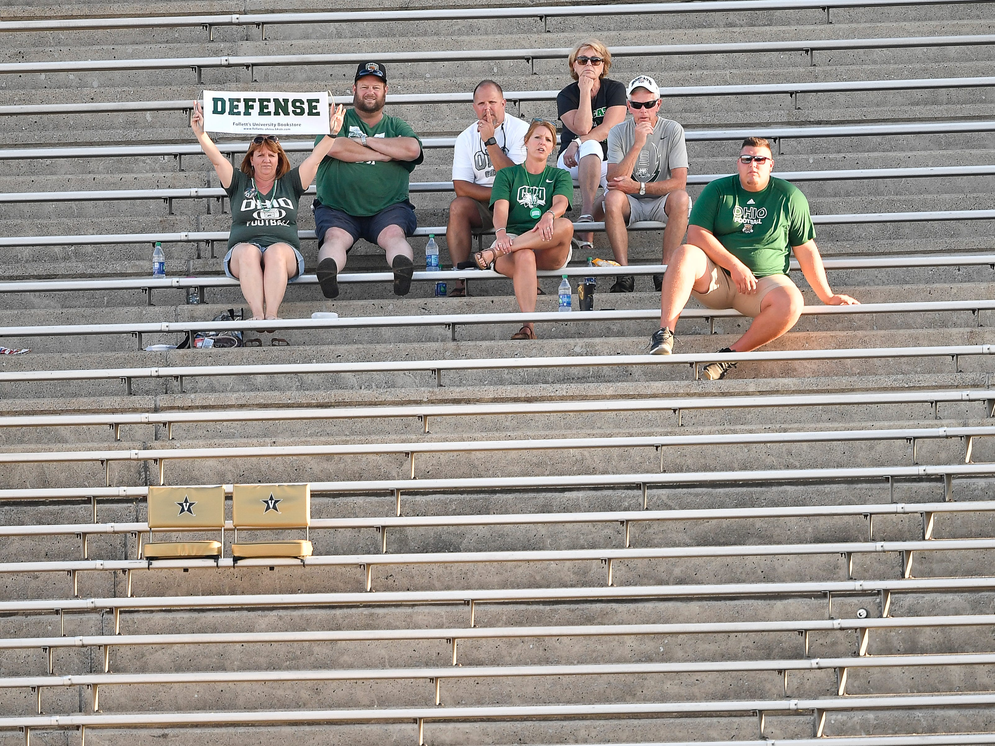 Ohio fans cheer for their Bobcats as they play against Virginia Saturday, Sept. 15, 2018, in Nashville, Tenn. Their football game was moved from Virginia to Tennessee to avoid the effects of Hurricane Florence.