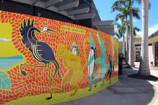 "Enhancements to common areas at Mercato in North Naples include ""selfie walls"" featuring caricatures of native wildlife such as alligators, birds, panthers and sea turtles."
