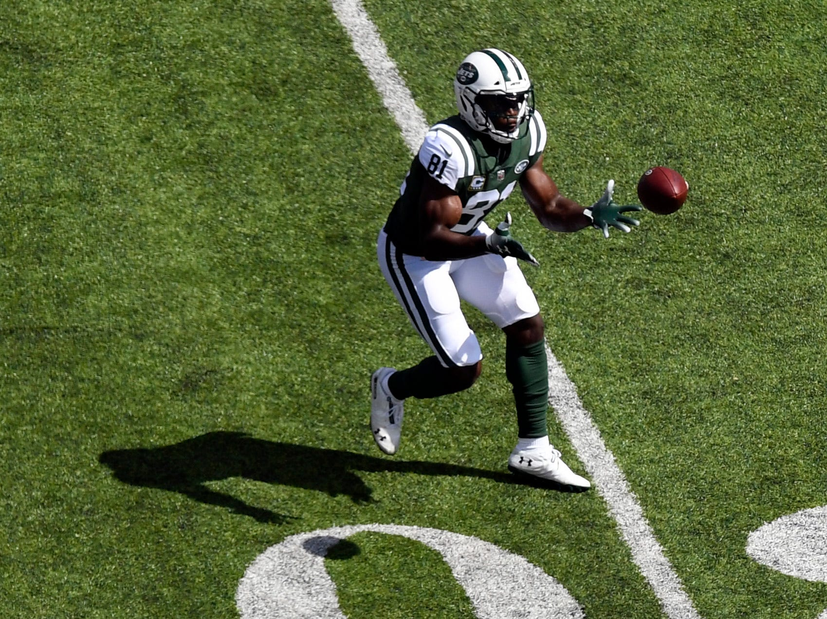New York Jets wide receiver Quincy Enunwa (81) catches the ball against the Miami Dolphins in Week 2 at MetLife Stadium in East Rutherford, NJ on Sunday, September 16, 2018.