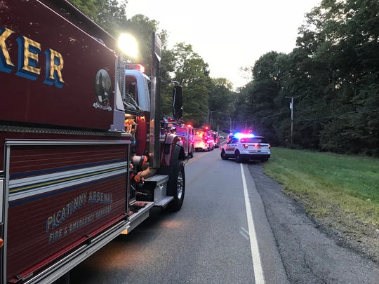 A fire in a detacted garage off Prospect Point Road near Lake Hopatcong's north shore blocked the road to through traffic at about 6:30 p.m. on Sunday, Sept. 16.