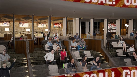 """A rendering of the loge seats in the """"Lofts"""" club area at the Prudential Center."""