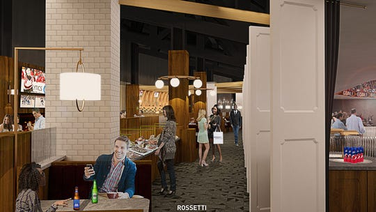 A rendering of the dining area in The Lofts club space at the Prudential Center in Newark.