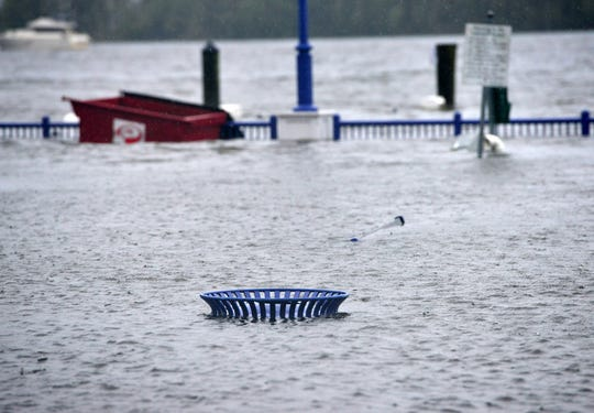 Sept 14, 2018; Washington, NC, USA; Rains from Hurricane Florence flooded park on the Pamlico River in downtown Washington, N.C. on Friday afternoon.    Mandatory Credit: Tariq ZehariNorthJersey.com via USA TODAY NETWORK
