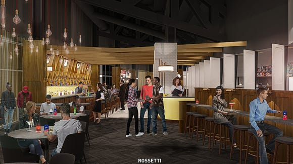 """A rendering of """"The Lofts"""" premium club space under construction at the Prudential Center in Newark."""