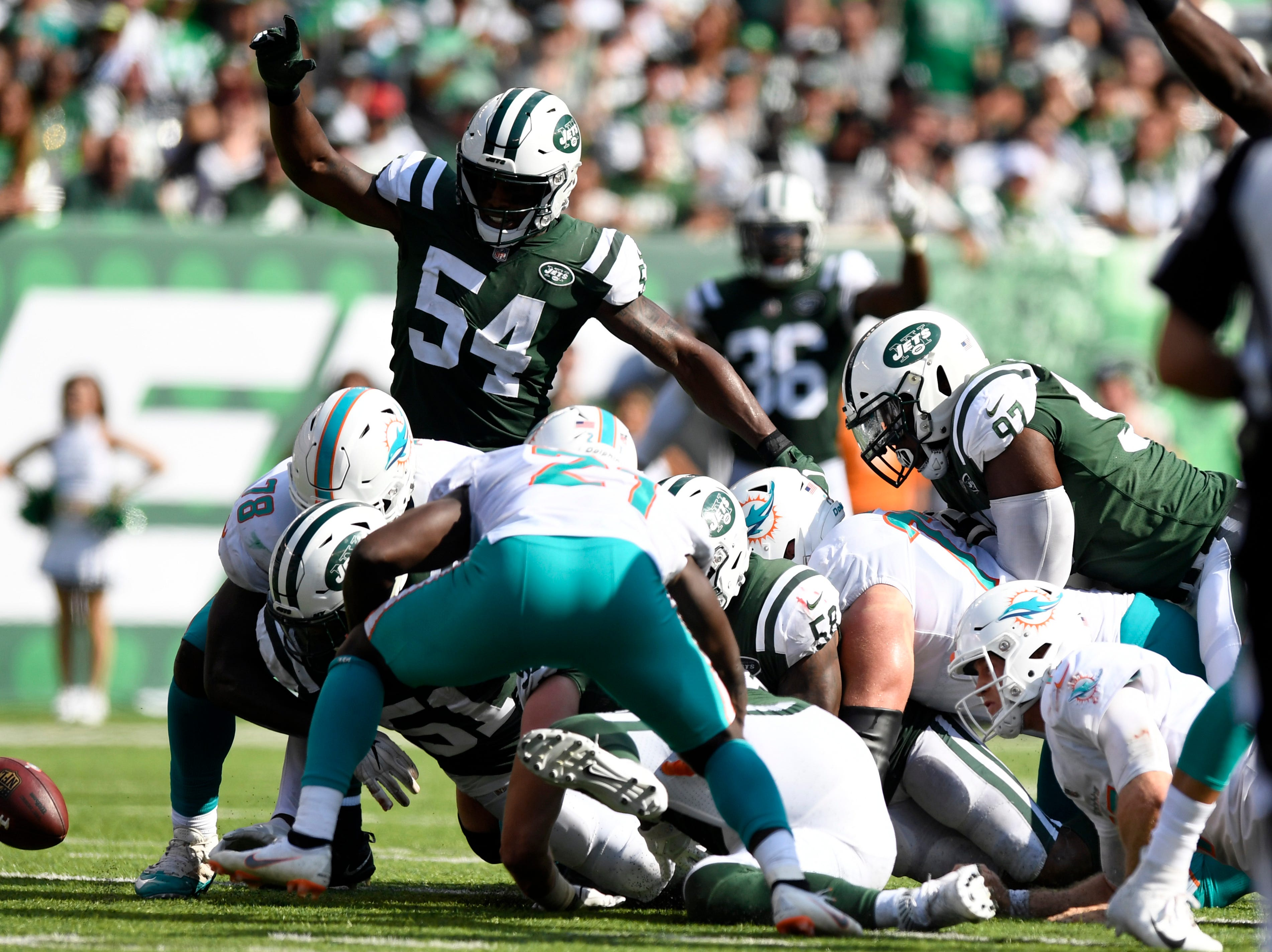 The New York Jets defense force a Miami fumble in Week 2 at MetLife Stadium in East Rutherford, NJ on Sunday, September 16, 2018.