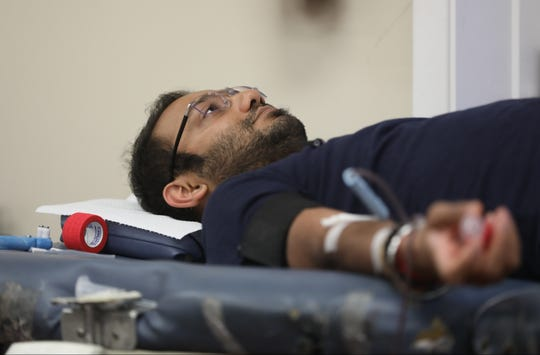 Monil Wani, of Hackensack was one of 43 people who came to Congregation Shaare Tefillah in Teaneck to donate blood to the Red Cross. Sunday, September 16, 2018