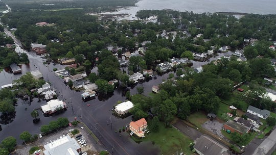 September 15, 2018; Belhaven, NC, USA; Drone photos of local flooding in Belhaven, North Carolina on Saturday, September 15, 2018.   Mandatory Credit: John Meore & Tariq Zehari/The Journal News via USA TODAY NETWORK