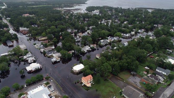 September 15, 2018; Belhaven, NC, USA; Drone photos of local flooding in Belhaven, North Carolina on Saturday, September 15, 2018.   Mandatory Credit: John Meore & Tariq Zehari/The Journal News via USA TODAY NETWORK