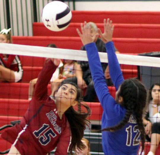 Senior Lady 'Cat Jolene Perez (15) turned in a productive match from the outside post with nine kills.