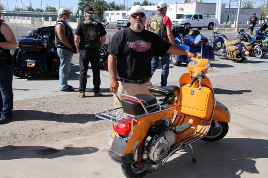 """Rockin' The Streets brings out bikes of all shapes and colors. Jesus """"Chuy"""" Vasquez and his 2000 Vespa """"Stella"""" made the scene."""