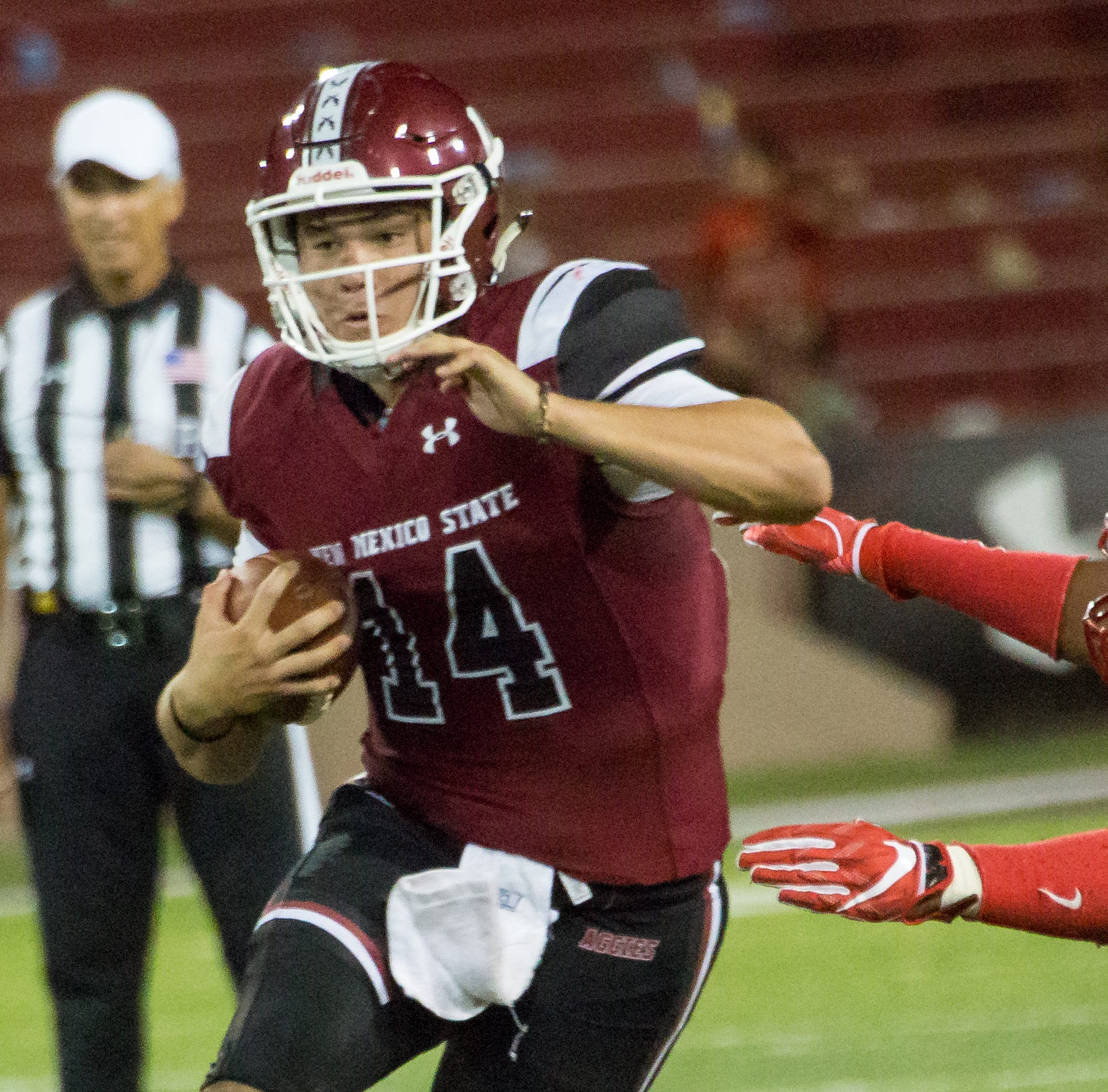 New Mexico State players confident in starting quarterback Josh Adkins
