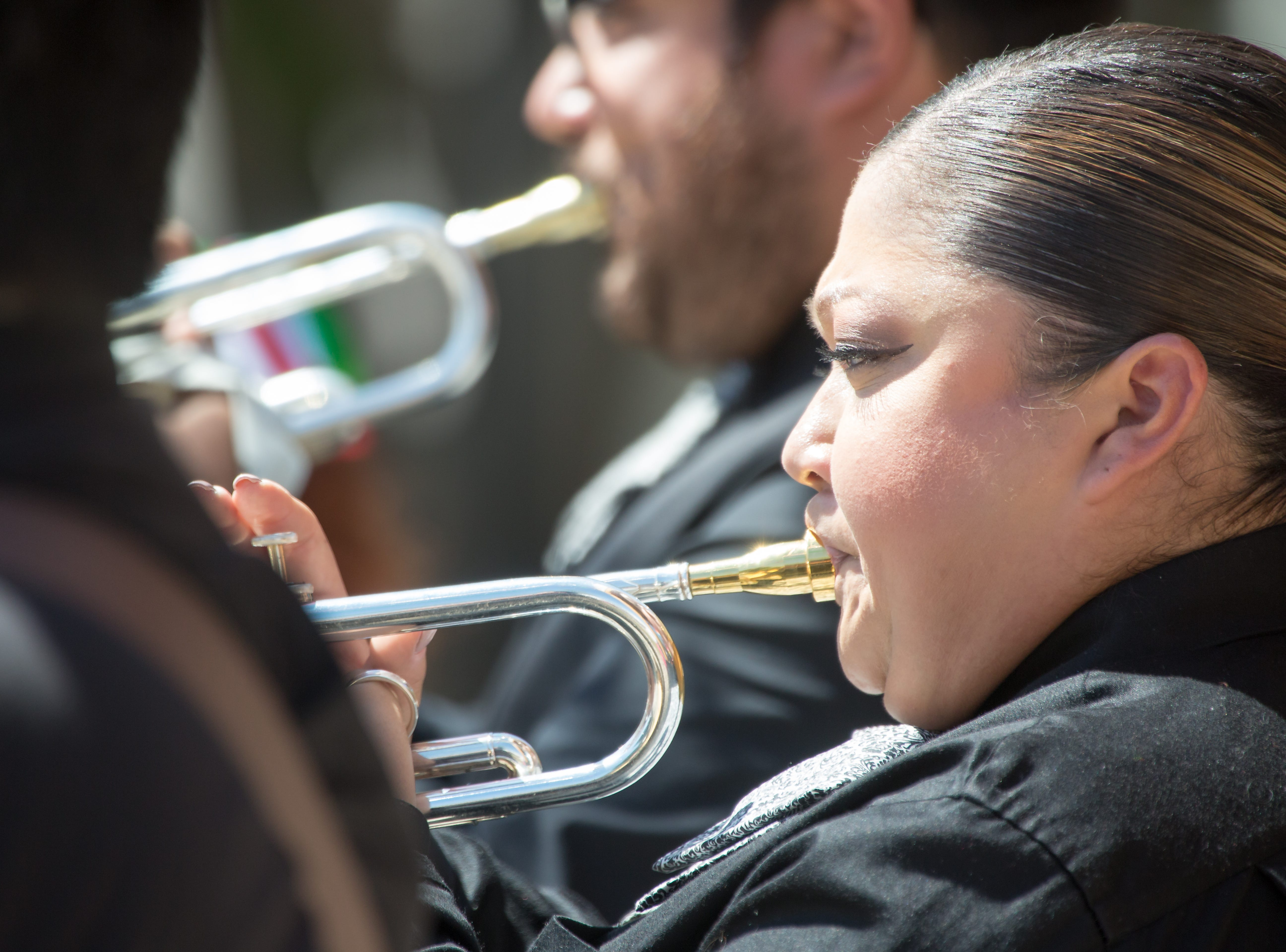 Amelia Garcia, with Mariachi Tapatio, performs in the Mesilla plaza on Sunday, September 16, 2018 during the Diez y Seis de Septiembre Fiesta.