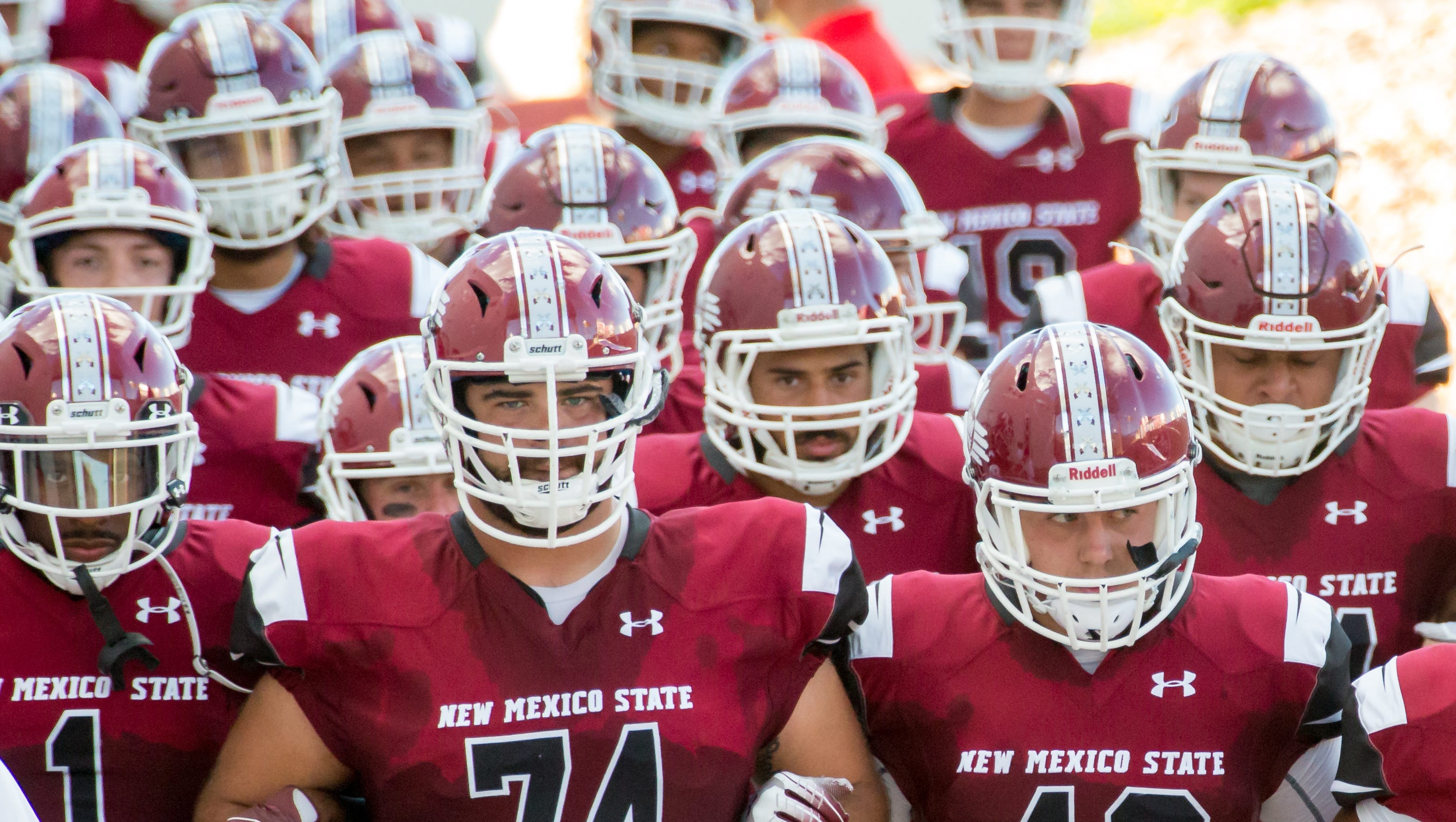 New Mexico State University takes the field on Saturday, September 15, 2018 during the NMSU/UNM game at Aggie <emorial Stadium.