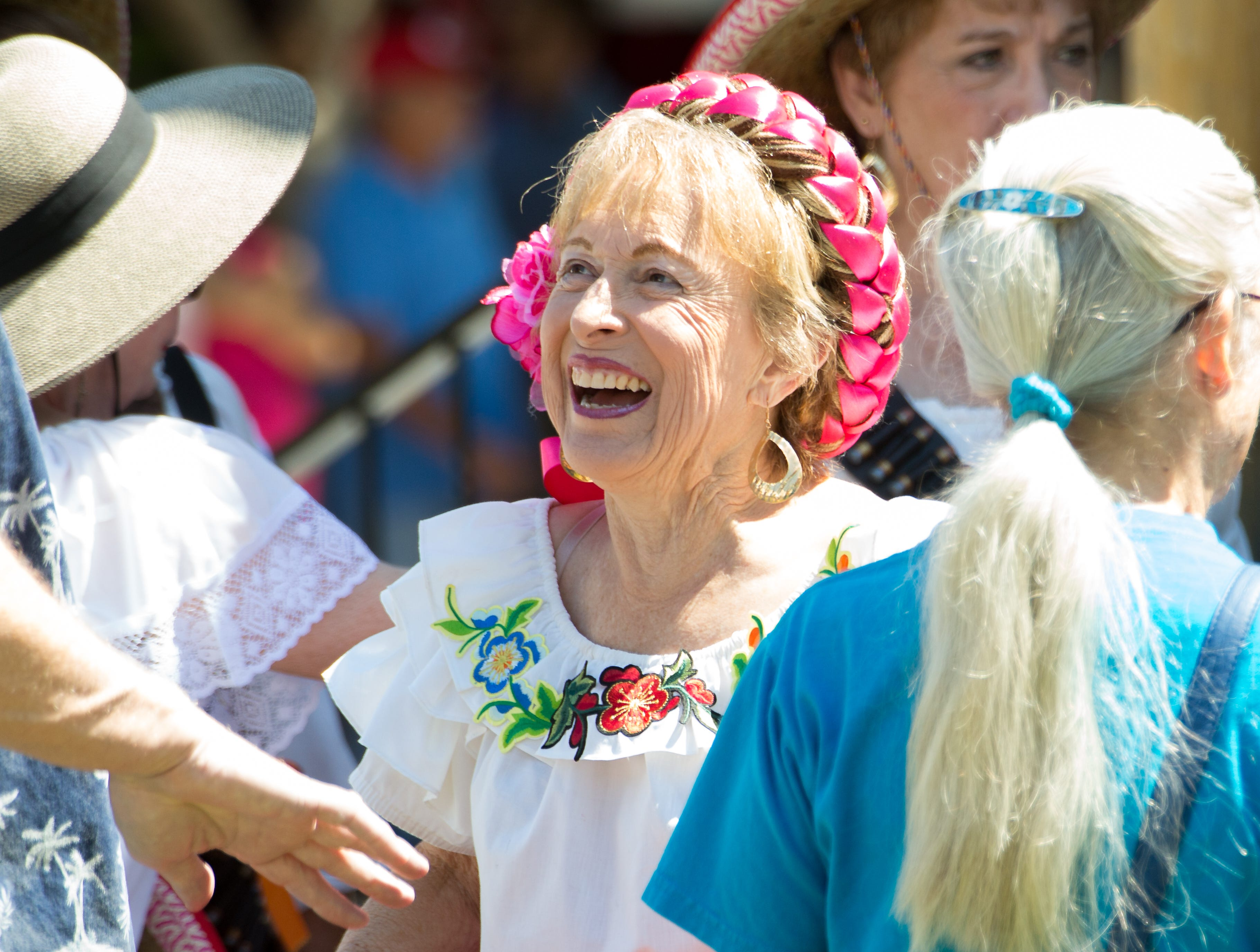 Director of Ballet Folkorico Las Floresitas del Valle Adela Eaton smiles as she chats before performing  in the Mesilla plaza on Sunday, September 16, 2018 during the Diez y Seis de September Fiesta.