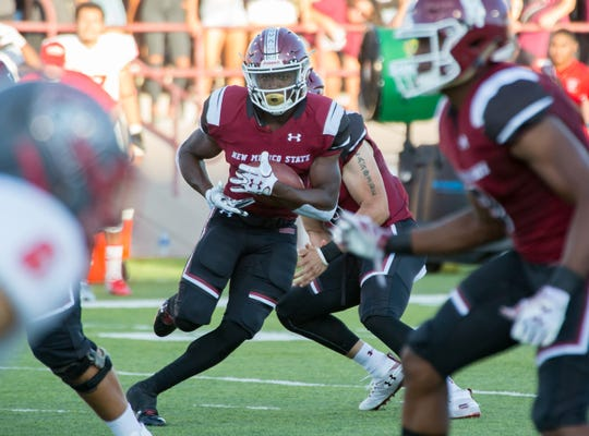 New Mexico State running back Jason Huntley has emerged as an all-purpose offensive player for the Aggies this season.