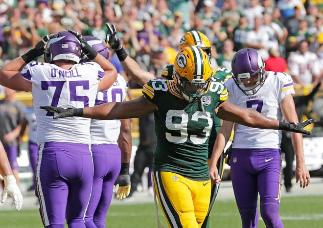 Green Bay Packers linebacker Reggie Gilbert (93) reacts as the Minnesota Vikings missed a field goal in overtime at Lambeau Field on Sunday, September 16, 2018 in Green Bay, Wis.Adam Wesley/USA TODAY NETWORK-Wisconsin