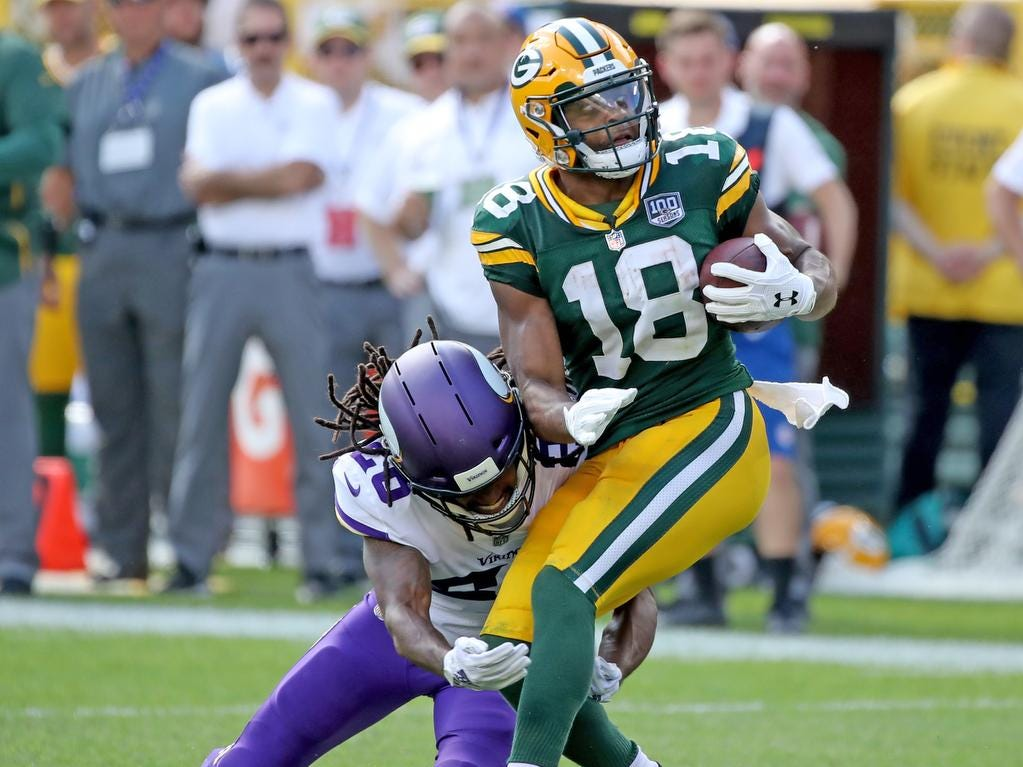 Green Bay Packers wide receiver Randall Cobb (18) catches a pass against the Minnesota Vikings Sunday, September 16, 2018 at Lambeau Field in Green Bay, WIs.