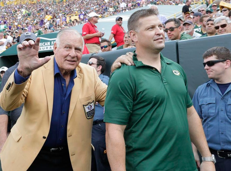 Jerry Kramer waves to fans as the Green Bay Packers play the Minnesota Vikings during their football game Sunday, Sept. 16, 2018, at Lambeau Field in Green Bay, Wis.