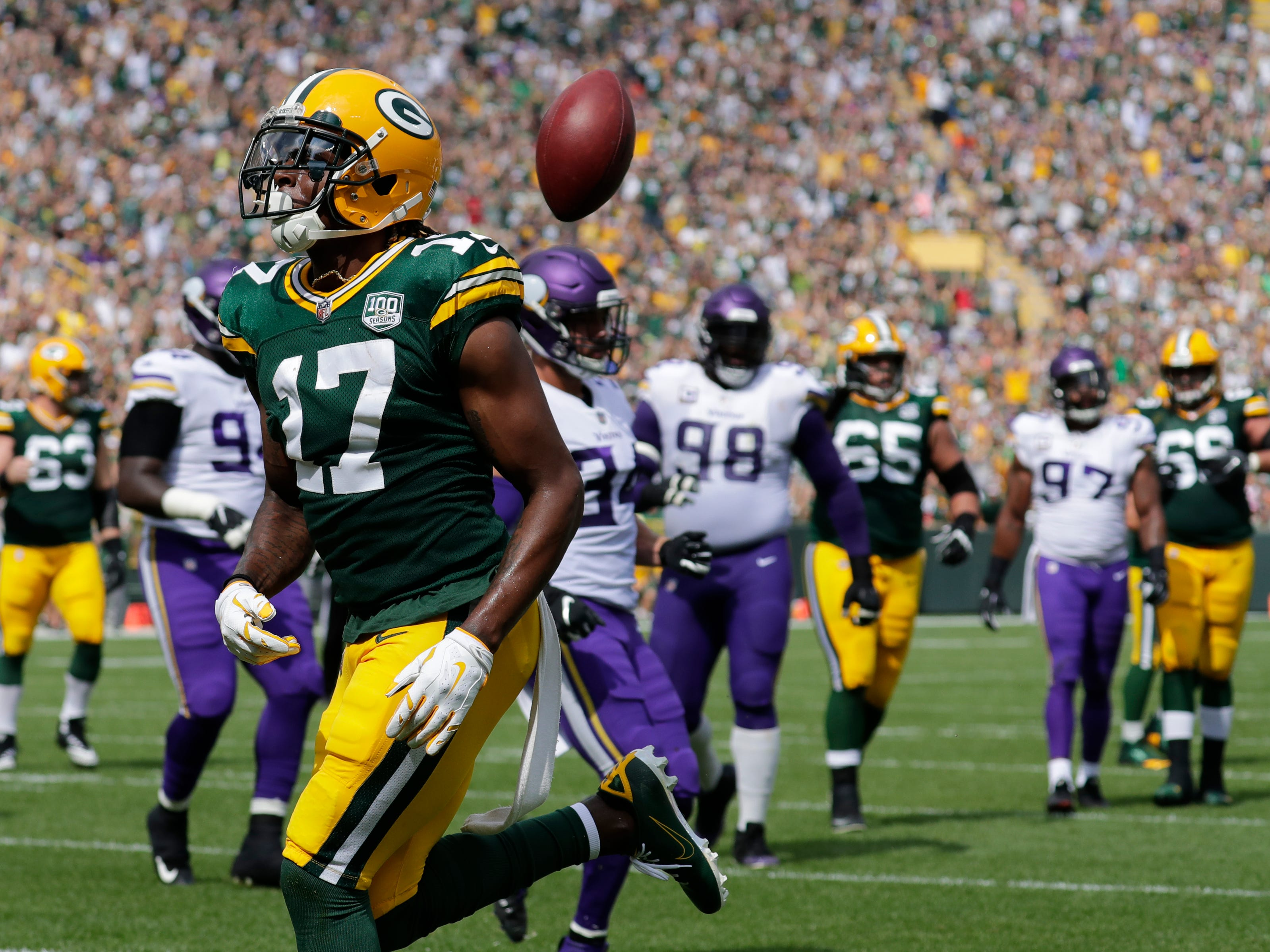 Green Bay Packers wide receiver Davante Adams (17) scores a touchdown in the second quarter against the Minnesota Vikings during their football game Sunday, Sept. 16, 2018, at Lambeau Field in Green Bay, Wis.