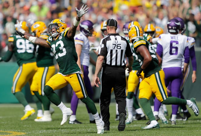 Green Bay Packers cornerback Jaire Alexander (23) reacts to a missed field goal attempt by the Minnesota Vikings late in the second quarter during their football game Sunday, Sept. 16, 2018, at Lambeau Field in Green Bay, Wis.