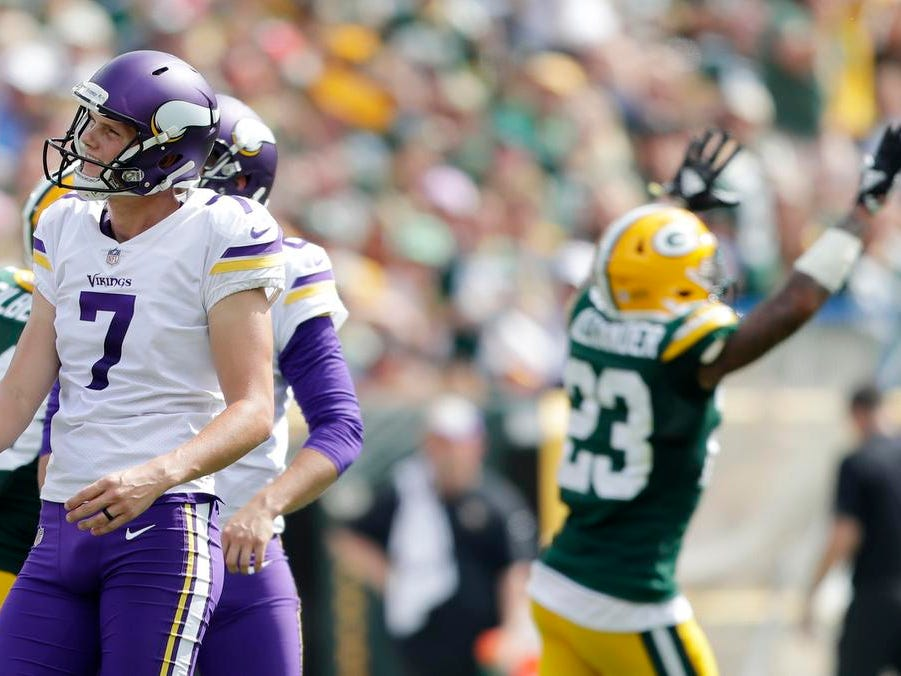 Minnesota Vikings kicker Daniel Carlson (7) reacts as he misses a field goal in the first half against the Green Bay Packers at Lambeau Field on Sunday, September 16, 2018 in Green Bay, Wis.