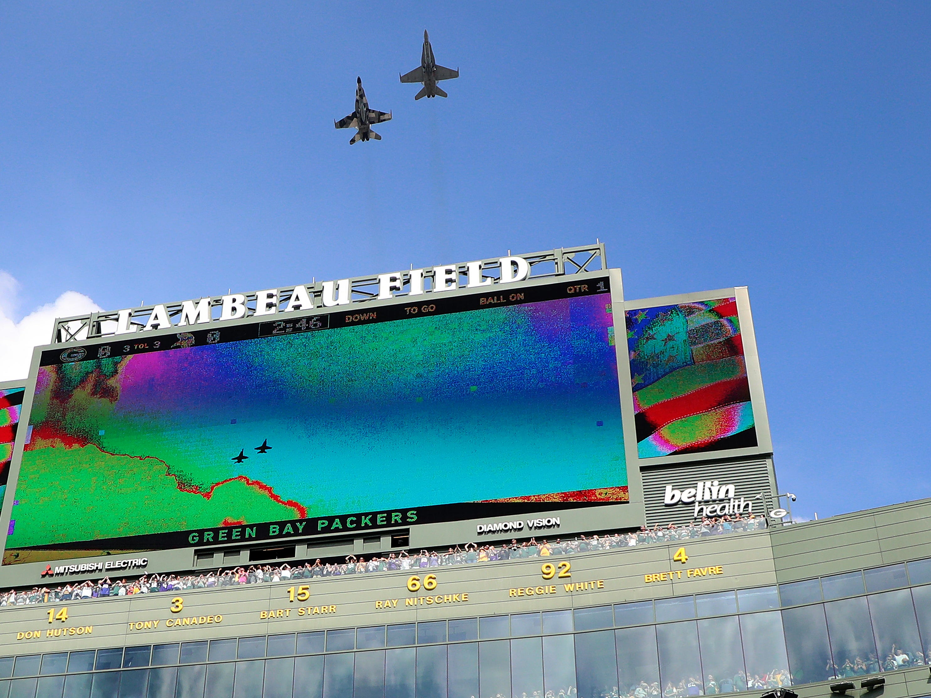 Jets fly over the crowd before the Packers game against the Minnesota Vikings Sunday, September 16, 2018 at Lambeau Field in Green Bay, WIs.