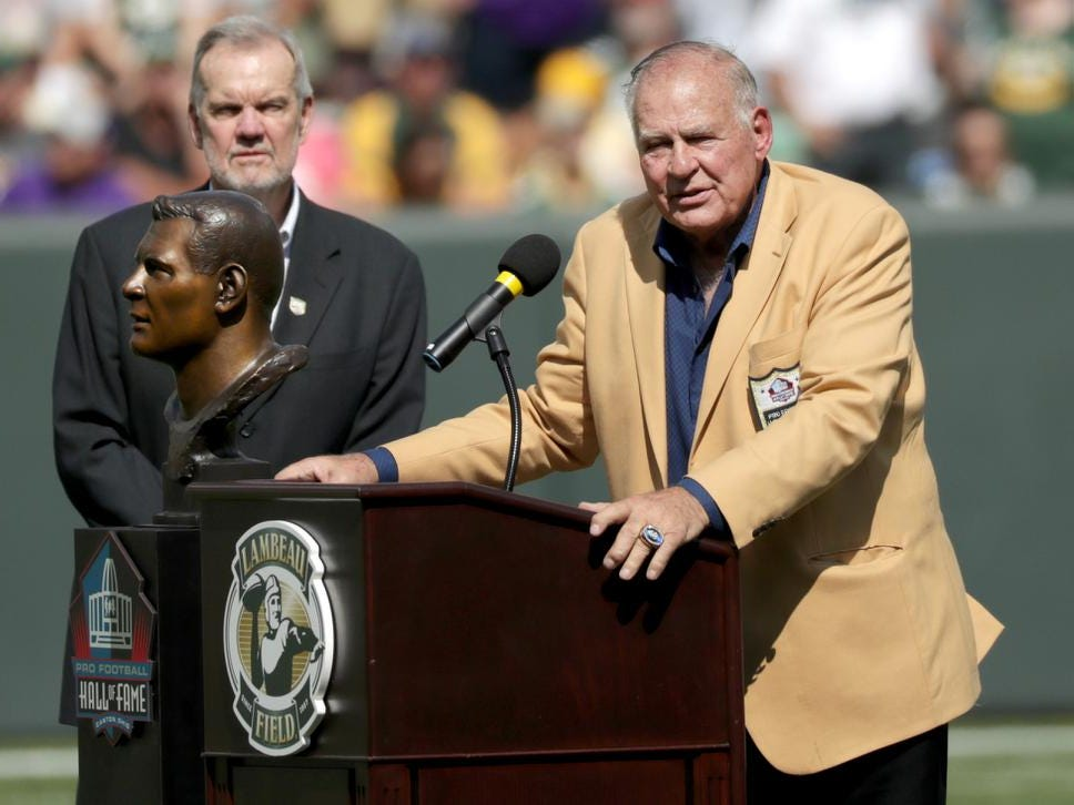 NFL Hall of Famer Jerrty Kramer during a Ring of Honor ceremony at halftime of Green Bay Packers against the Minnesota Vikings football game on Sunday, September 16, 2018, at Lambeau Field in Green Bay, Wis.