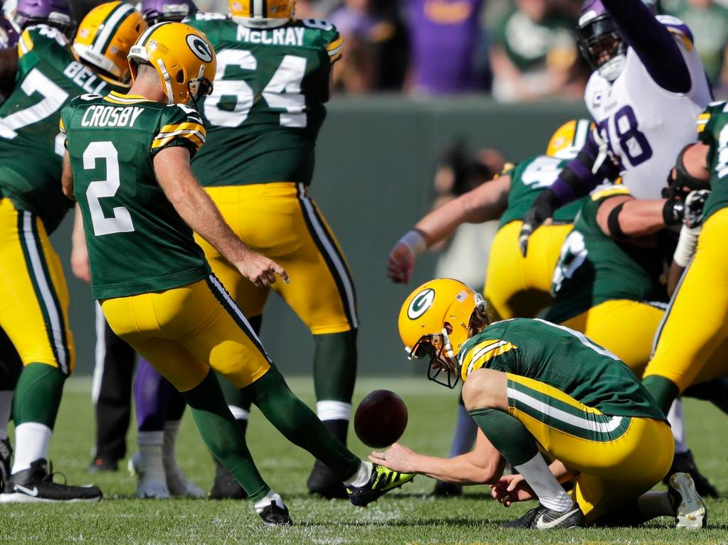 Green Bay Packers kicker Mason Crosby (2) misses a field goal late in the fourth quarter against the Minnesota Vikings during their football game Sunday, Sept. 16, 2018, at Lambeau Field in Green Bay, Wis.