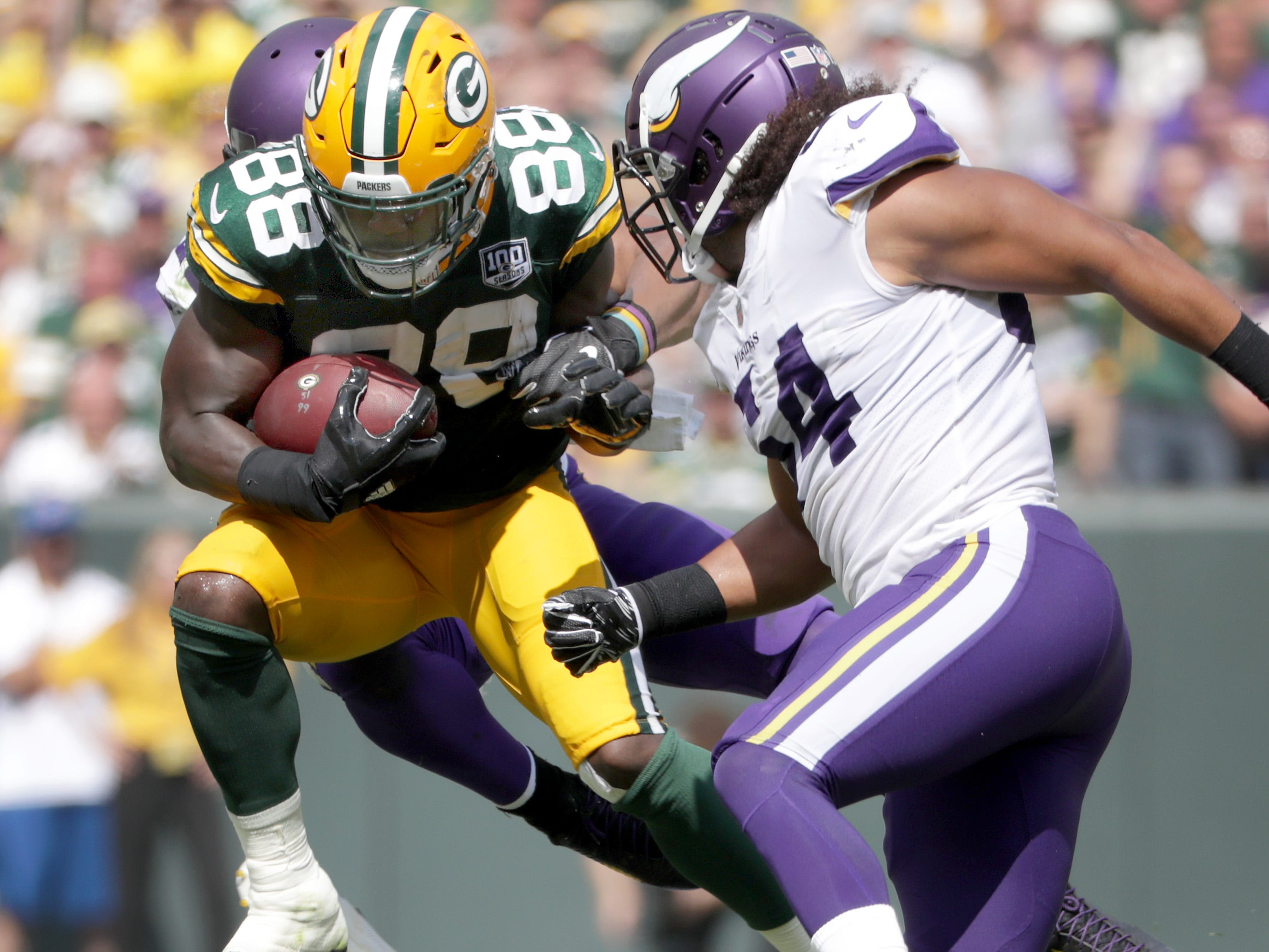 Green Bay Packers' Ty Montgomery against the Minnesota Vikings during their football game on Sunday, September 16, 2018, at Lambeau Field in Green Bay, Wis.