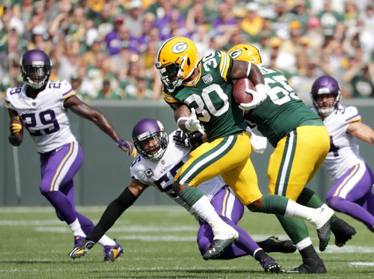 Green Bay Packers' Jamaal Williams against the Minnesota Vikings during their football game on Sunday, September 16, 2018, at Lambeau Field in Green Bay, Wis.