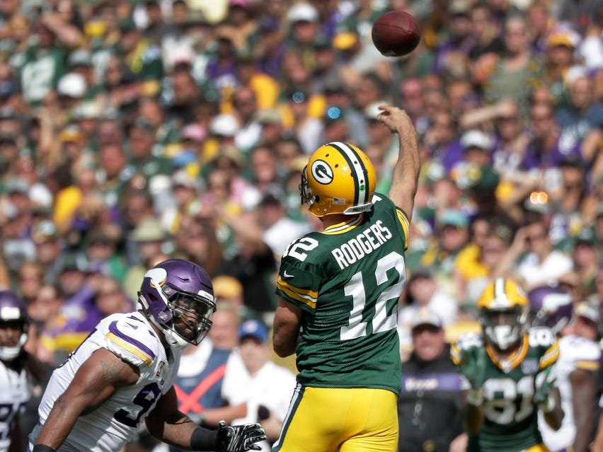Green Bay Packers quarterback Aaron Rodgers against the Minnesota Vikings during their football game on Sunday, September 16, 2018, at Lambeau Field in Green Bay, Wis. The game ended in a 29 to 29 tie.