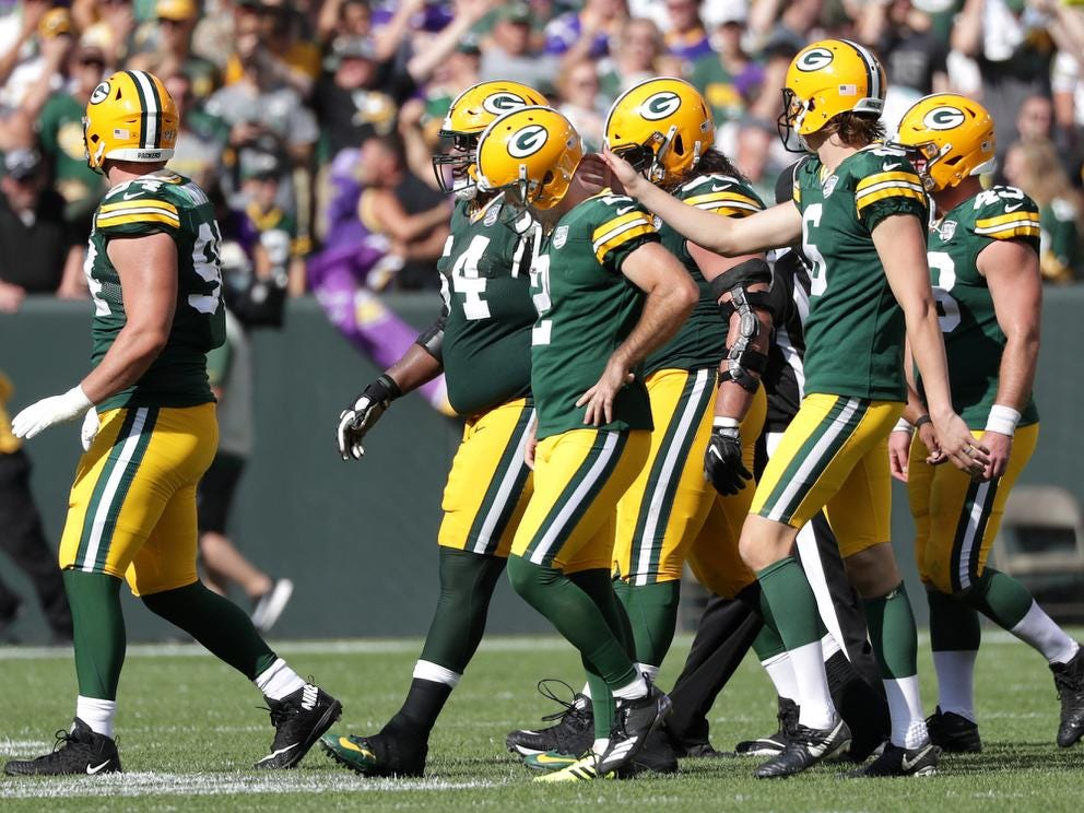 Green Bay Packers kicker Mason Crosby reacts after missing a late fourth quarter fieldgoal against the Minnesota Vikings during their football game on Sunday, September 16, 2018, at Lambeau Field in Green Bay, Wis. The game ended in a 29 to 29 tie.