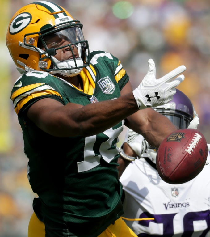 Green Bay Packers wide receiver Randall Cobb against the Minnesota Vikings during their football game on Sunday, September 16, 2018, at Lambeau Field in Green Bay, Wis.