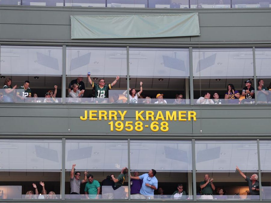 NFL Hall of Famer Jerrty Kramer Ring of Honor ceremony at halftime of Green Bay Packers against the Minnesota Vikings football game on Sunday, September 16, 2018, at Lambeau Field in Green Bay, Wis.