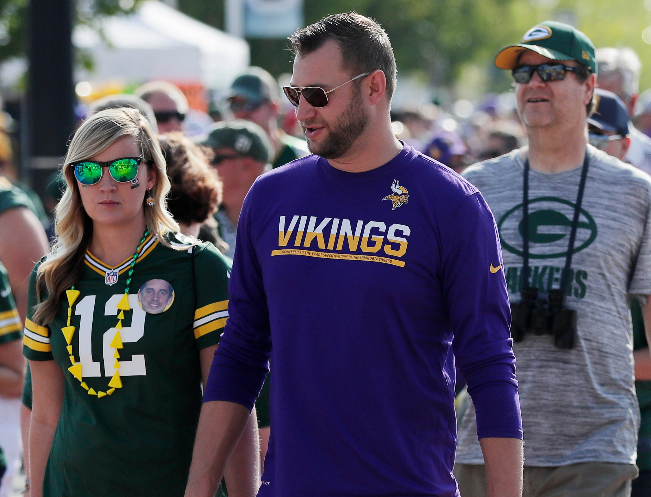 Packers and Vikings fans tailgate outside Lambeau Field on Sunday, September 16, 2018 in Green Bay, Wis.