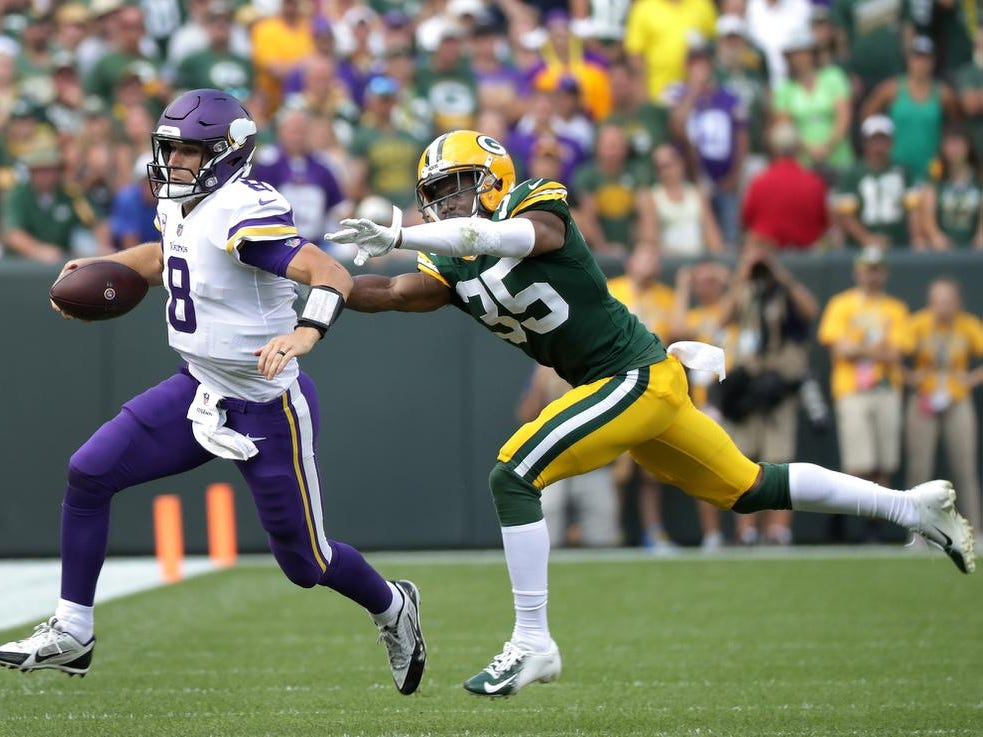 The Green Bay Packers Green Bay Packers defensive back Jermaine Whitehead chases Minnesota Vikings quarterback Kirk Cousins during their football game on Sunday, September 16, 2018, at Lambeau Field in Green Bay, Wis. The game ended in a 29 to 29 tie.