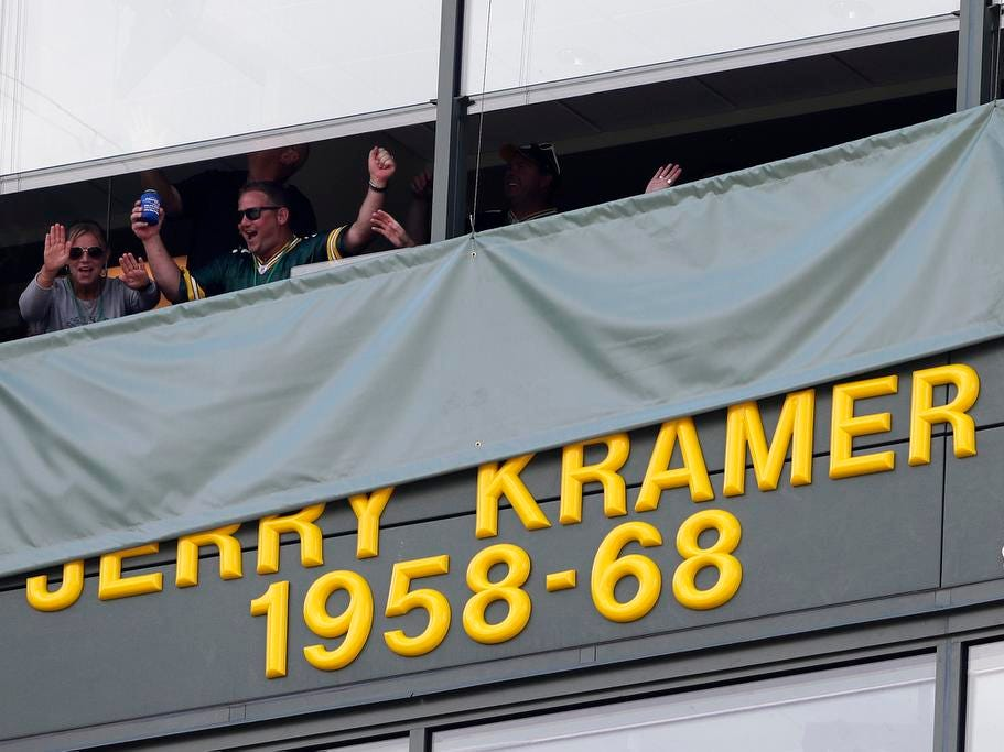 Jerry Kramer's name is unveiled at Lambeau Field on Sunday, September 16, 2018 in Green Bay, Wis.