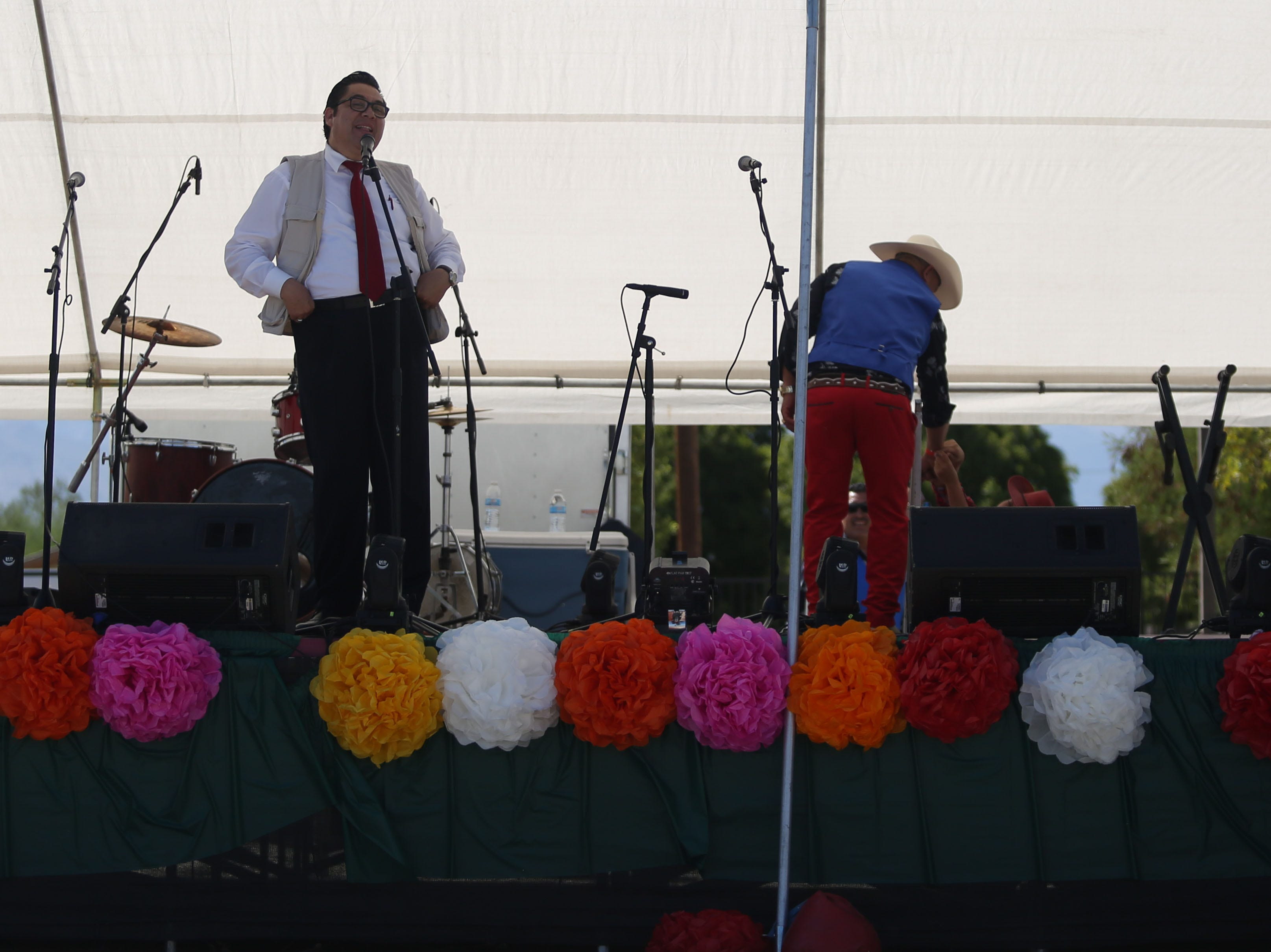 Marcos Palma MCs the Mexican independence day celebration at Our Virgin of Guadalupe Church in Mecca on Saturday, September 15, 2018.