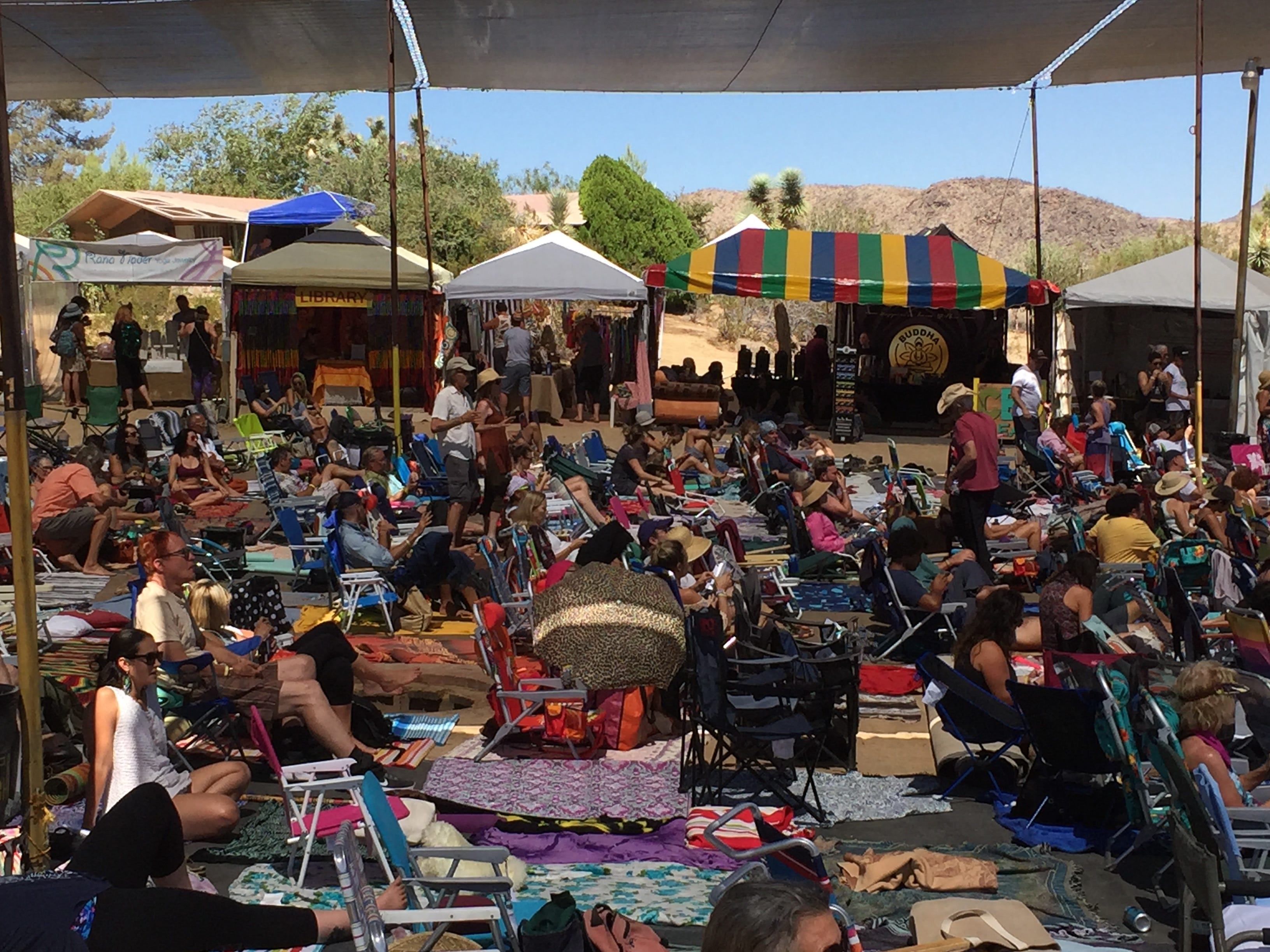 A scene from Saturday's session at the Bhakti Fest in Joshua Tree.