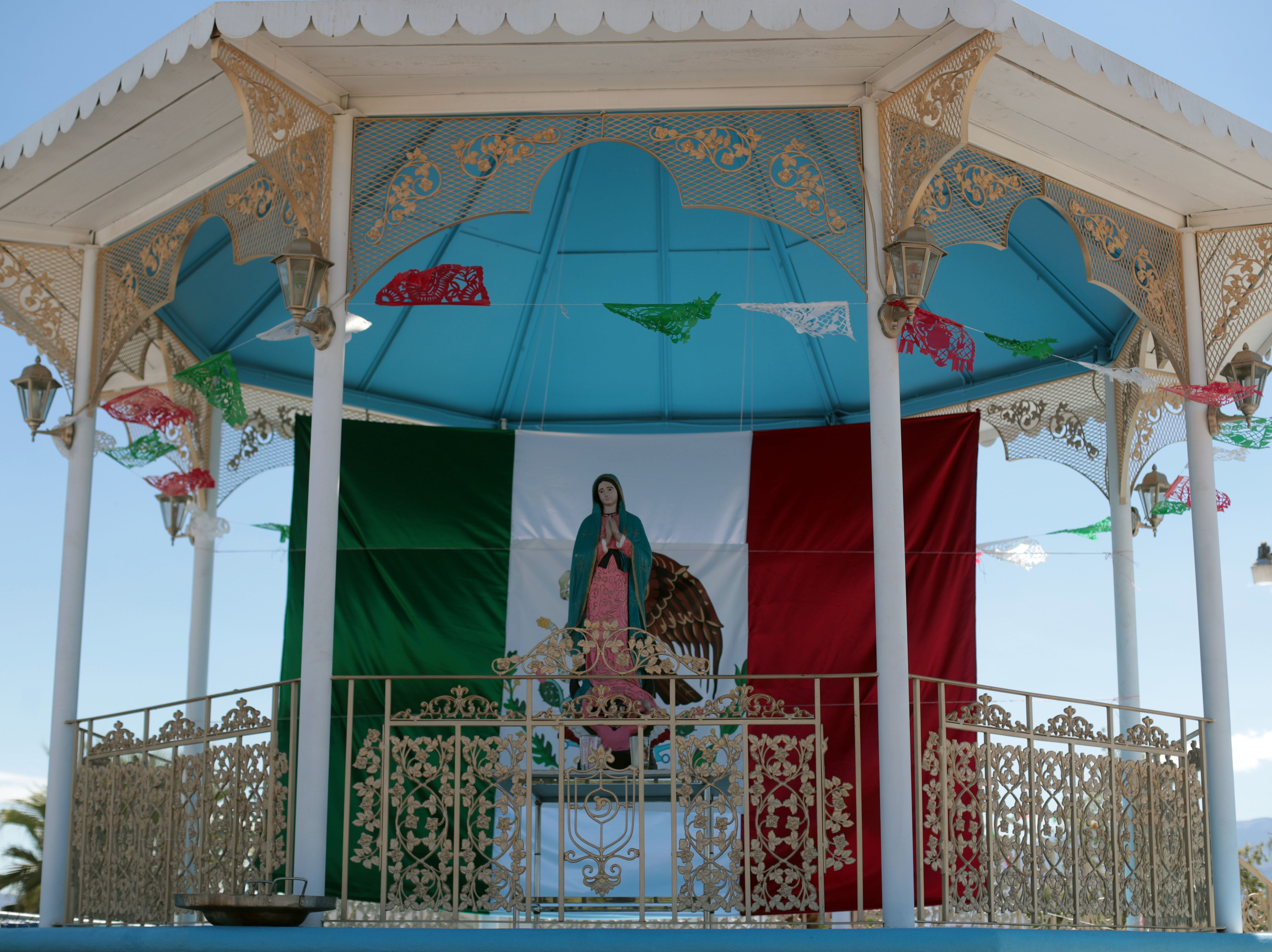 Our Virgin of Guadalupe Church in Mecca decorated for Mexican independence day celebration on Saturday, September 15, 2018.