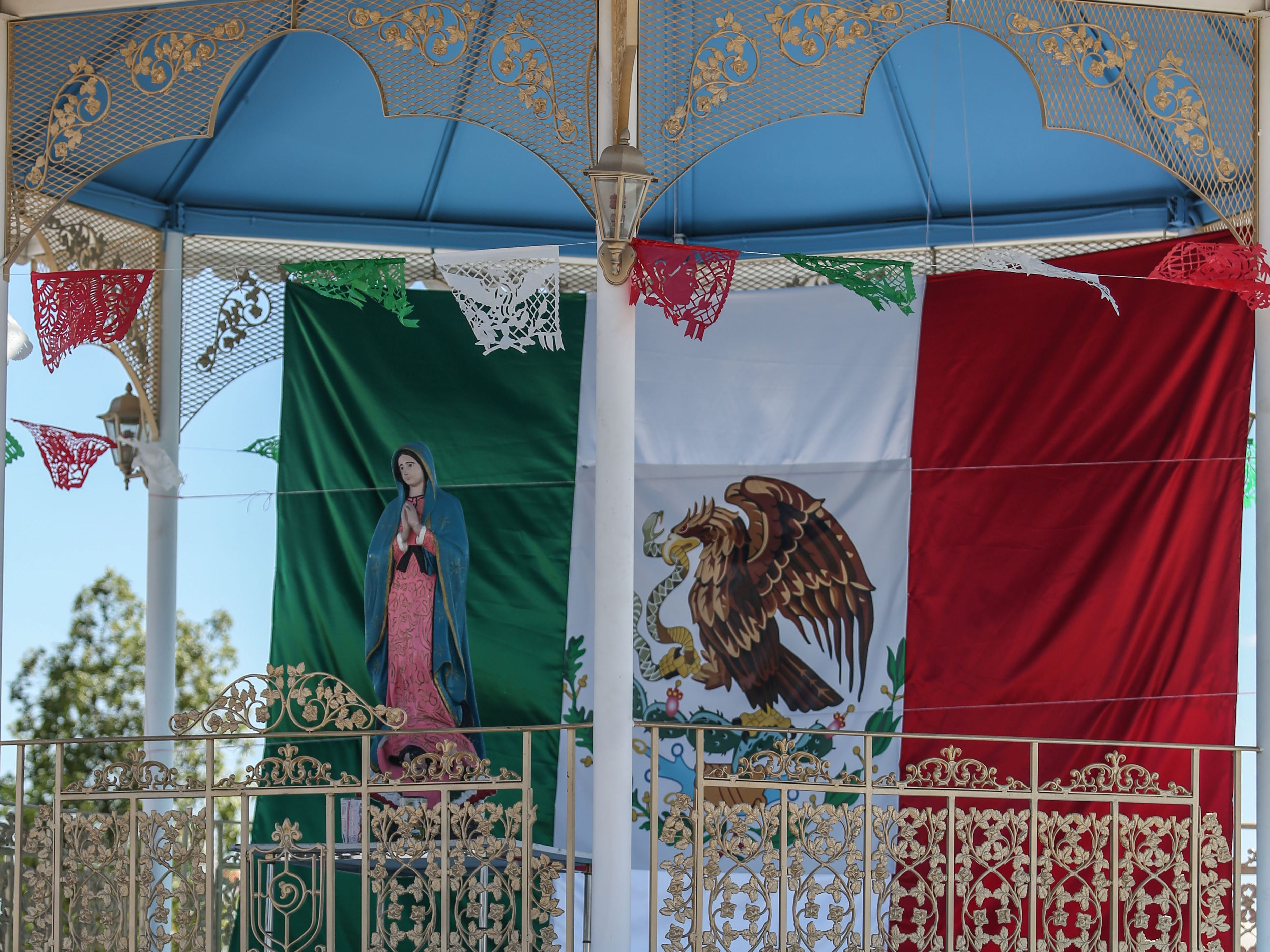 A musician eats at the Mexican independence day celebration at Our Virgin of Guadalupe Church in Mecca on Saturday, September 15, 2018.