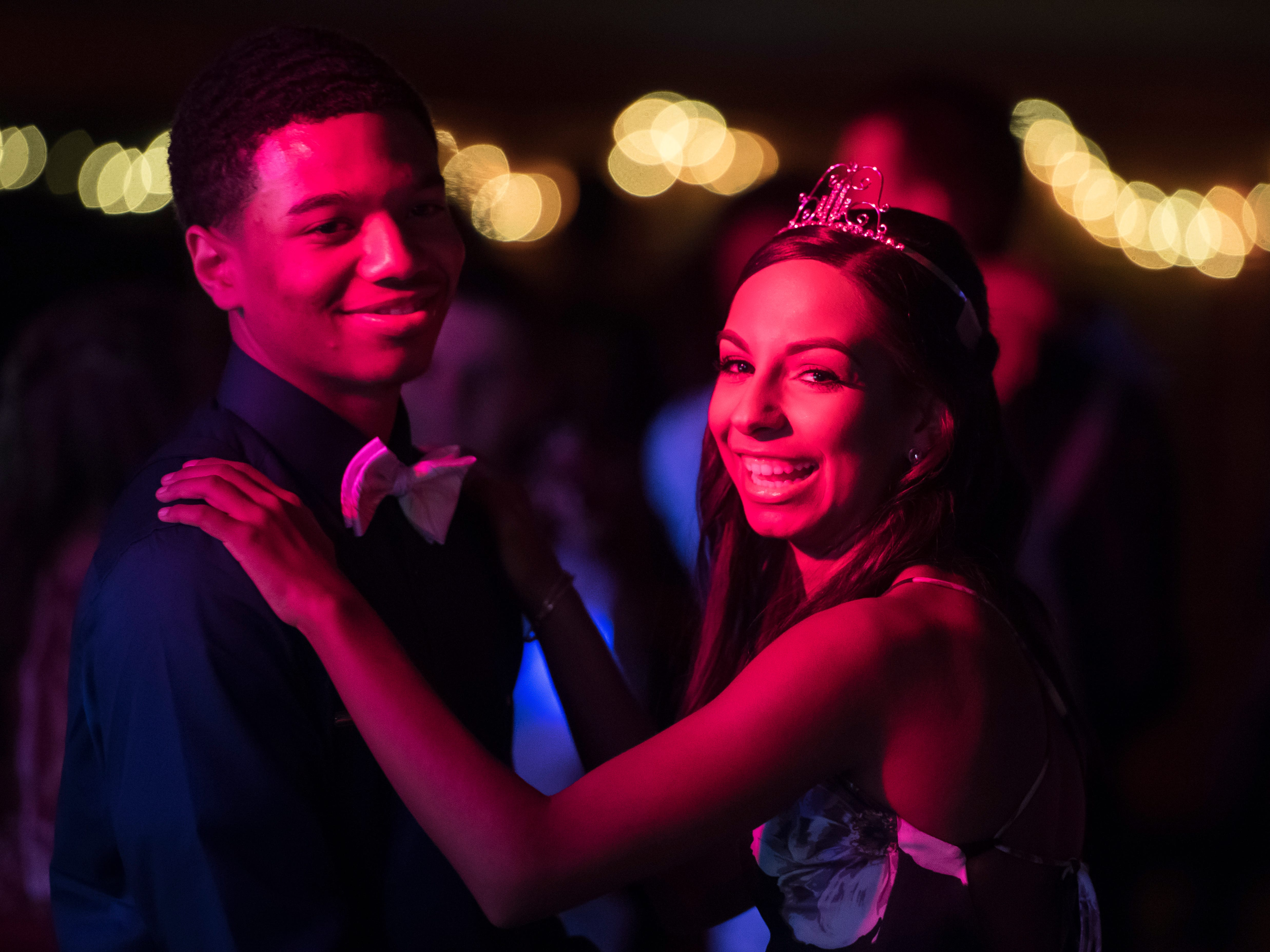 Hanover High School homecoming queen Elynda Garcia dances with Kwame Myers on Saturday, September 15, 2018.